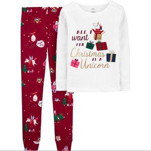 Carter's All I Want for Christmas/unicorn Pajamas